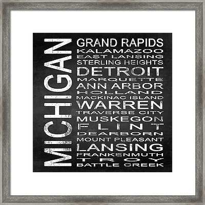 Subway Michigan State Square Framed Print by Melissa Smith