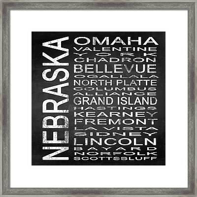 Subway Nebraska State Square Framed Print by Melissa Smith