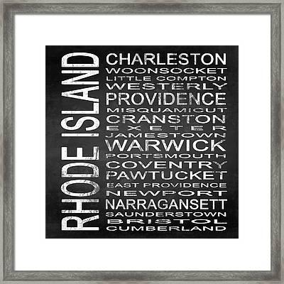Subway Rhode Island State Square Framed Print