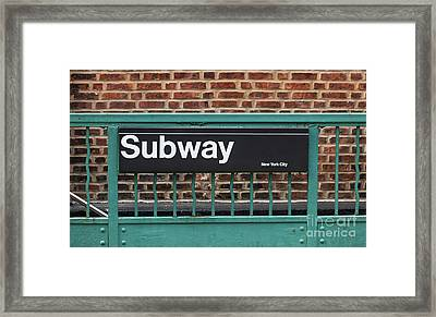 Subway Sign In New York City Framed Print