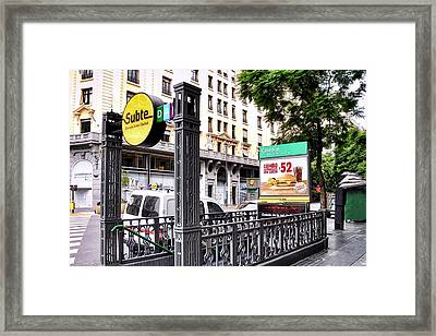 Subway Station Entrance In Buenos Aires Framed Print
