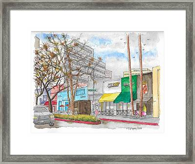 Subway, Wilshire Blvd. And Roxbury Dr., Beverly Hills, California Framed Print by Carlos G Groppa