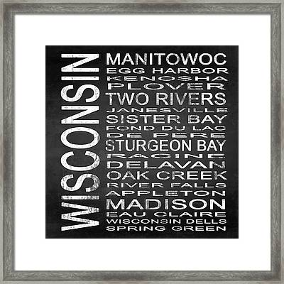 Subway Wisconsin State Square Framed Print by Melissa Smith