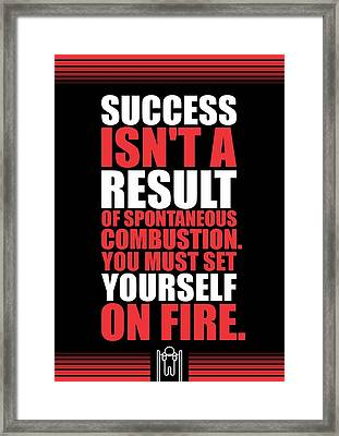Success Is Not A Result Gym Motivational Quotes Poster Framed Print by Lab No 4