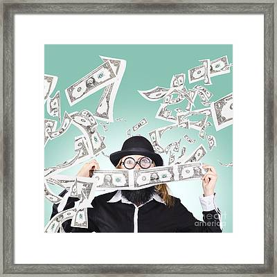 Successful American Businessman With Lots Of Money Framed Print by Jorgo Photography - Wall Art Gallery