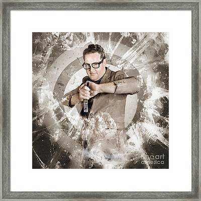 Successful Business Person Taking Aim At Target Framed Print