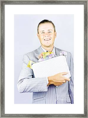 Successful Business With His Cash Bounty Framed Print