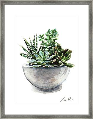 Succulent Arrangement In Modern Planter Framed Print by Laura Row