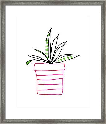 Framed Print featuring the mixed media Succulent In A Pink Pot- Art By Linda Woods by Linda Woods
