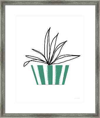 Succulent In Green Pot 3- Art By Linda Woods Framed Print by Linda Woods