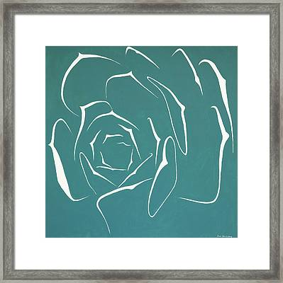 Framed Print featuring the painting Succulent In Turquoise by Ben Gertsberg