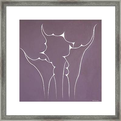 Framed Print featuring the painting Succulent In Violet by Ben Gertsberg