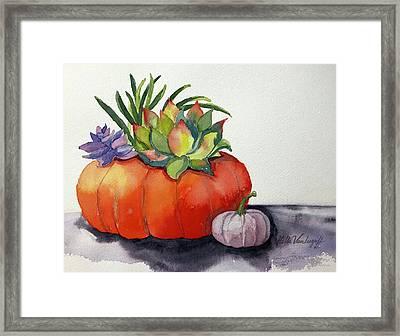 Succulents In Pumpkin Framed Print