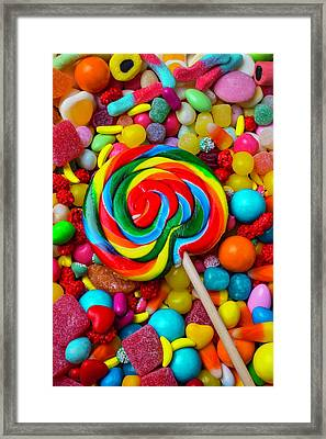 Sucker On Pile Of Candy Framed Print by Garry Gay