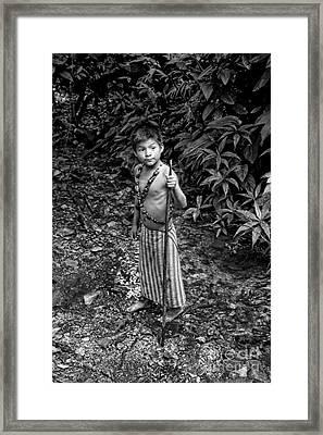 Framed Print featuring the photograph Sucua Kids 898 by Al Bourassa
