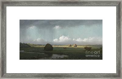 Sudden Shower, Newbury Marshes Framed Print by Martin Johnson Heade