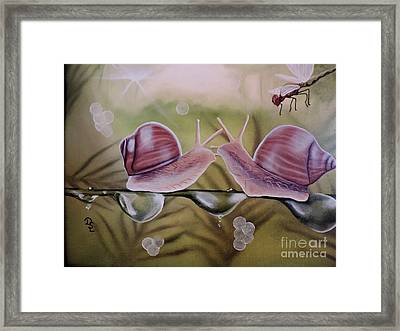 Sue And Sammy Snail Framed Print