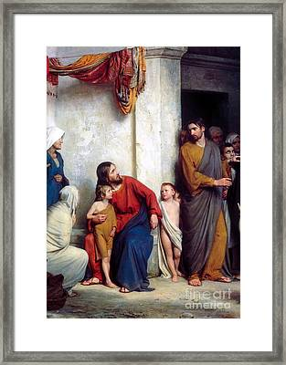 Suffer The Children Framed Print by Carl Heinrich Bloch