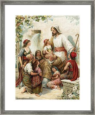Suffer The Little Children To Come To Me Framed Print by Robert Ambrose Dudley