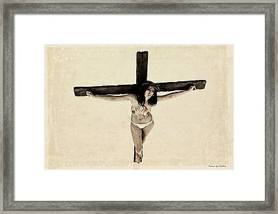 Suffering Of A Woman On Cross Framed Print