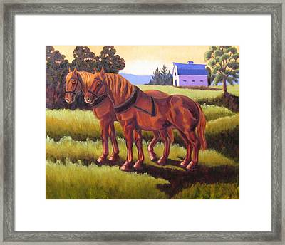 Suffolk Punch Day Is Done Framed Print