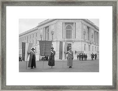 Suffragettes Picketing The Senate Framed Print by Everett