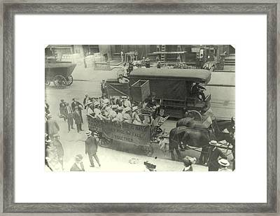 Suffragettes Ride To Yonkers City Hall Framed Print by Padre Art
