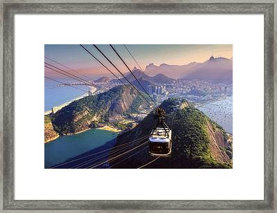 Sugar Loaf Cable Car And Botafogo Bay Framed Print by Antonello