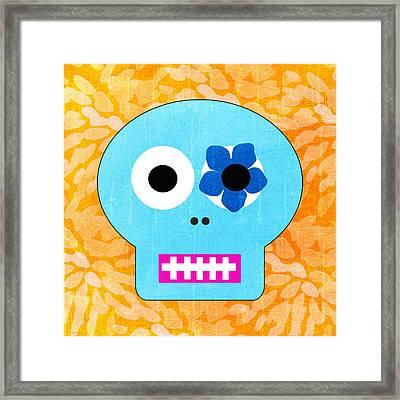 Sugar Skull Blue And Orange Framed Print by Linda Woods