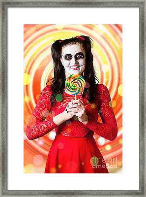 Sugar Skull Girl Holding Colourful Lollypop Candy Framed Print by Jorgo Photography - Wall Art Gallery