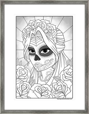 Sugar Skull Girl Framed Print by Tearing Cookie
