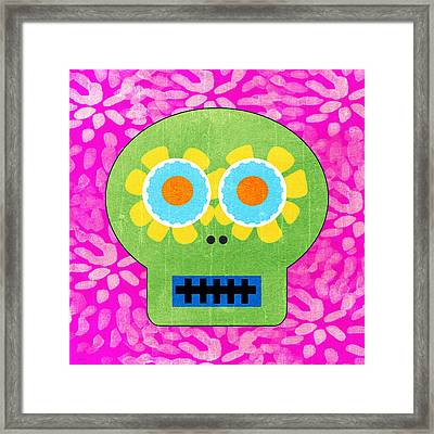 Sugar Skull Green And Pink Framed Print by Linda Woods