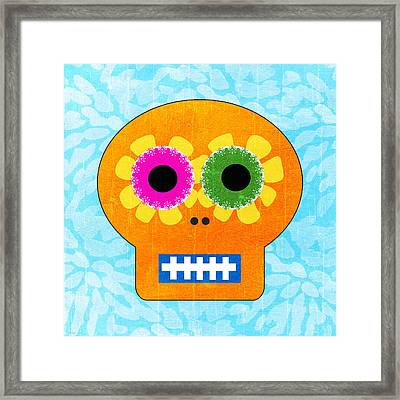 Sugar Skull Orange And Blue Framed Print