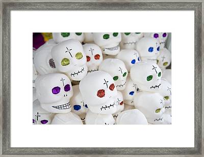 Sugar Skulls For Sale At The Day Framed Print by Krista Rossow