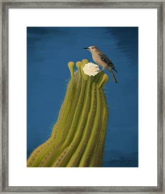 Sugaro Cactus And Cactus Wren Framed Print by Wally Hampton