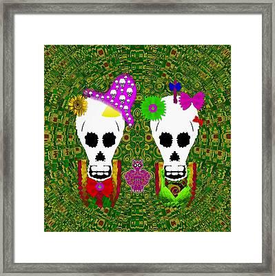 Sugarskull And Flowerskull And A Owl Framed Print