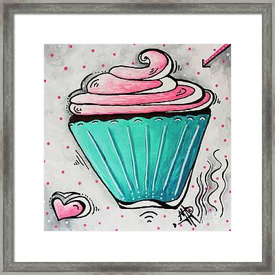 Sugary Sweet Cupcake Mini Pop Art Original Painting By Madart Framed Print