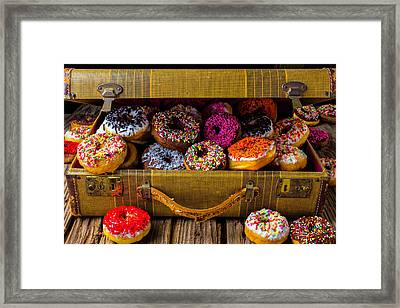 Suitcase Full Of Donuts Framed Print by Garry Gay