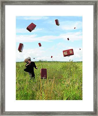 Suitcase Rain Framed Print