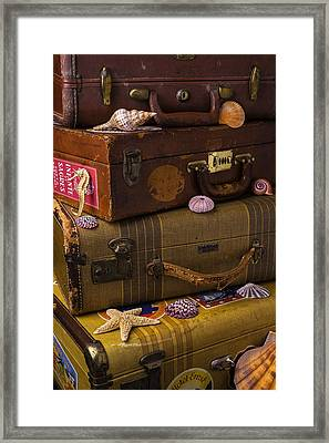 Suitcases With Seashells Framed Print by Garry Gay