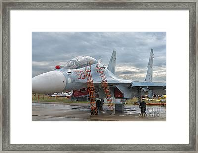 Sukhoi Su-30m2 Flanker-c At Maks Air Show In Moscow, Russia Framed Print