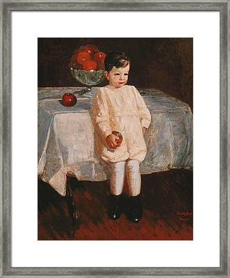 Sulky Boy Framed Print