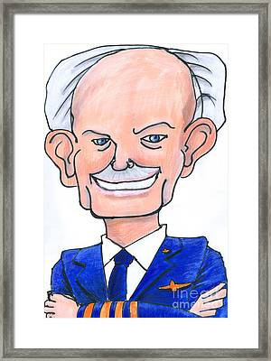 Sully Sullenberger Caricature Framed Print by Stan Levine