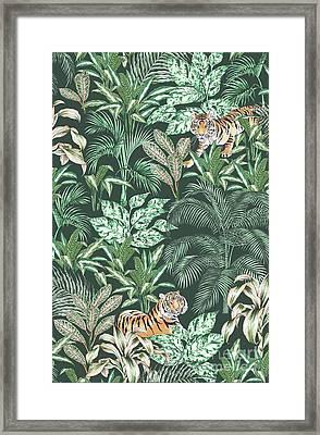 Sumatran Tiger, Green Framed Print