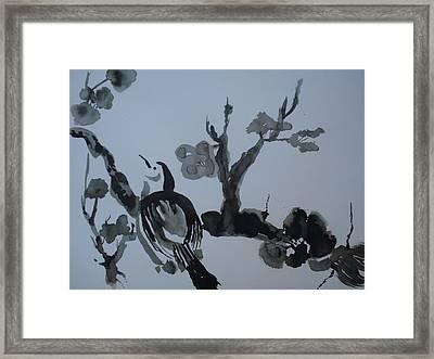 Sumi-e Bird And Plum Blossoms Framed Print by Warren Thompson