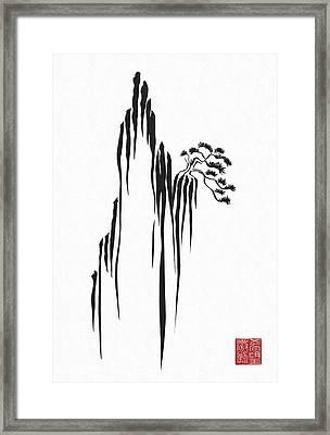 Sumi-e - Bonsai - One Framed Print by Lori Grimmett