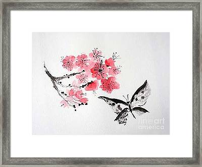 Framed Print featuring the painting Sumi -e Butterfly by Sibby S