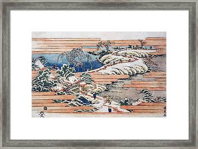 Sumidagawa Under Snow Framed Print by Utagawa Kunitora