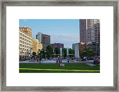 Summer Afternoon  On The Greenway Downtown Boston Atlantic Ave Framed Print