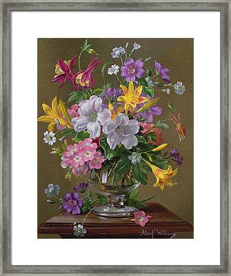 Summer Arrangement In A Glass Vase Framed Print by Albert Williams